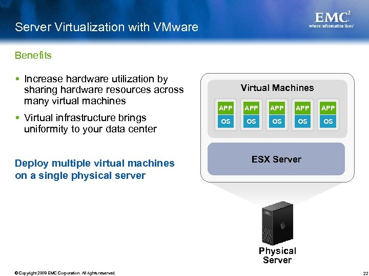 Server Virtualization with VMware Benefits Increase hardware utilization by sharing hardware resources across many