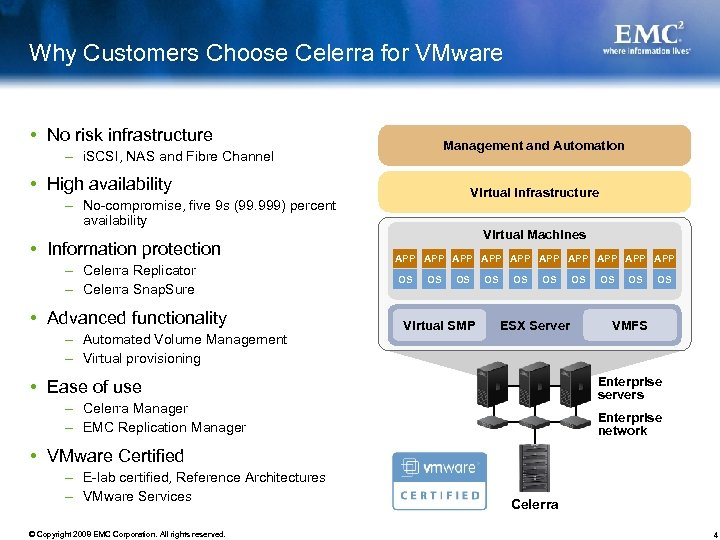 Why Customers Choose Celerra for VMware No risk infrastructure Management and Automation – i.
