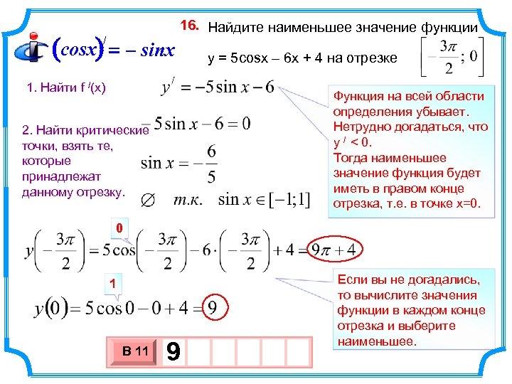 (cosx) = – sinx / 16. Найдите наименьшее значение функции y = 5 cosx