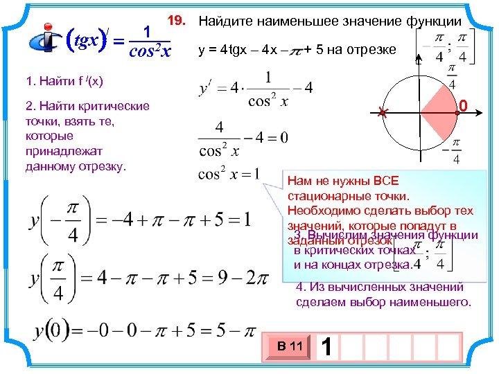 19. Найдите наименьшее значение функции 1 (tgx) = cos 2 x / y =
