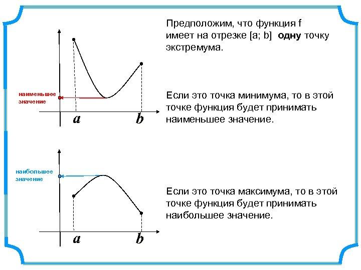 Предположим, что функция f имеет на отрезке [а; b] одну точку экстремума. наименьшее значение