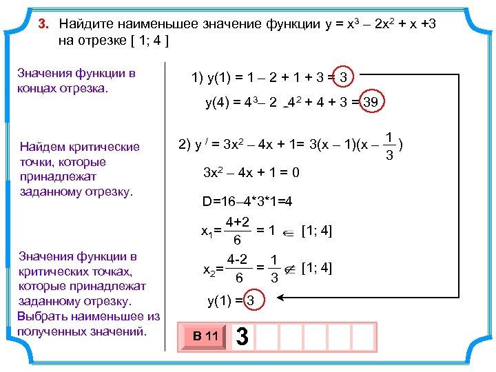 3. Найдите наименьшее значение функции y = x 3 – 2 x 2 +