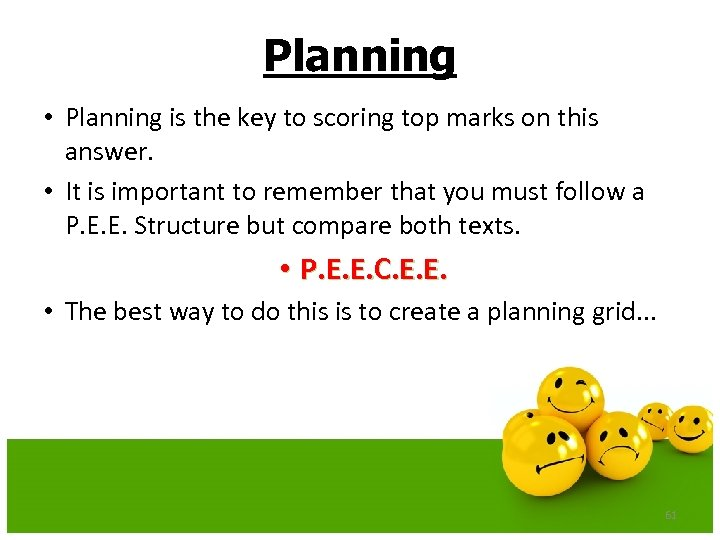 Planning • Planning is the key to scoring top marks on this answer. •