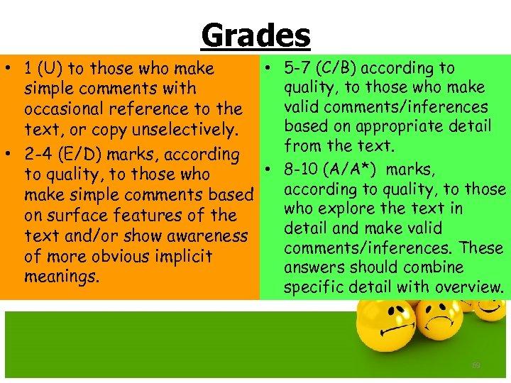 Grades • 5 -7 (C/B) according to • 1 (U) to those who make
