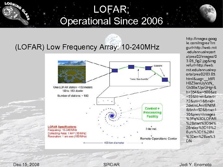 LOFAR; Operational Since 2006 (LOFAR) Low Frequency Array: 10 -240 MHz Dec 15, 2008