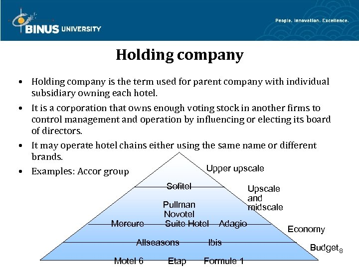 Holding company • Holding company is the term used for parent company with individual