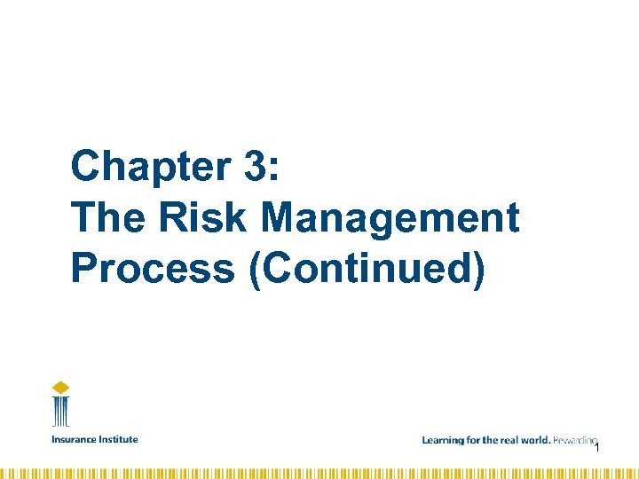 Chapter 3: The Risk Management Process (Continued) 1