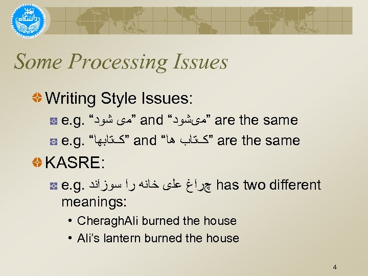 """Some Processing Issues Writing Style Issues: e. g. """" """"ﻣی ﺷﻮﺩ and """" """"ﻣیﺸﻮﺩ"""