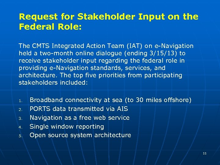 Request for Stakeholder Input on the Federal Role: The CMTS Integrated Action Team (IAT)