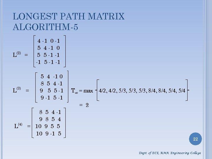 LONGEST PATH MATRIX ALGORITHM-5 L(2) = L(3) = 4 -1 0 -1 5 4