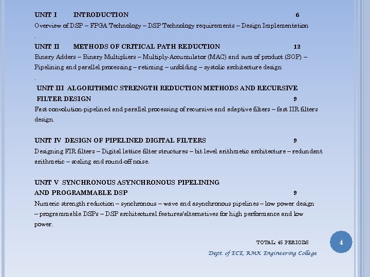 UNIT I INTRODUCTION 6 Overview of DSP – FPGA Technology – DSP Technology requirements