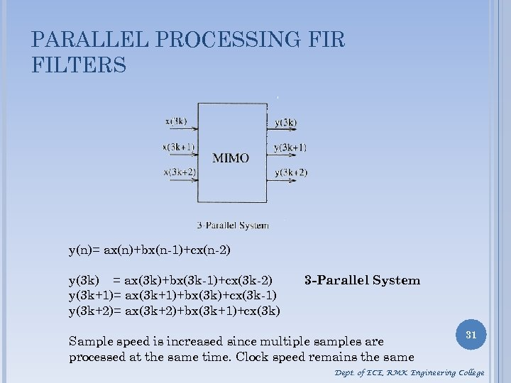PARALLEL PROCESSING FIR FILTERS y(n)= ax(n)+bx(n-1)+cx(n-2) y(3 k) = ax(3 k)+bx(3 k-1)+cx(3 k-2) y(3