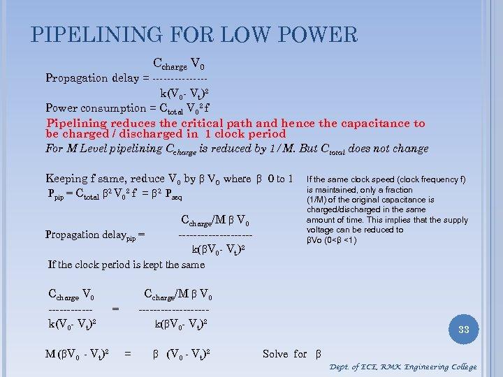 PIPELINING FOR LOW POWER Ccharge V 0 Propagation delay = -------k(V 0 - Vt)2