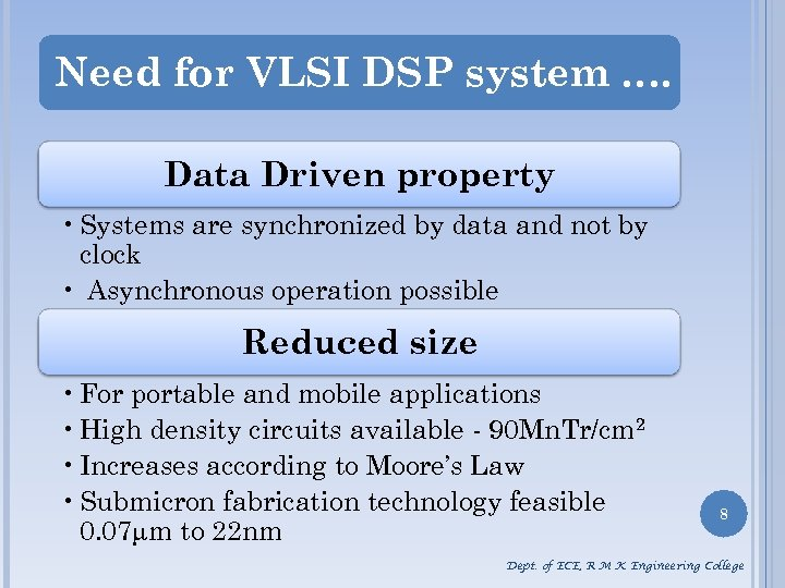 Need for VLSI DSP system …. Data Driven property • Systems are synchronized by