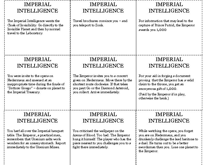 IMPERIAL INTELLIGENCE The Imperial Intelligence wants the Cloak of Invisibility. Go directly to the