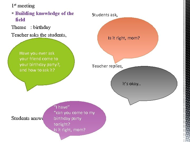 1 st meeting § Building knowledge of the field Theme : birthday Teacher asks