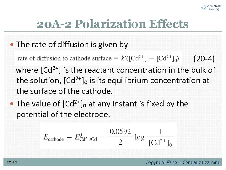 20 A-2 Polarization Effects The rate of diffusion is given by (20 -4) where