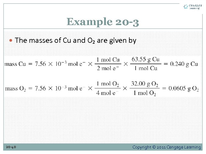 Example 20 -3 The masses of Cu and O₂ are given by 20 -40