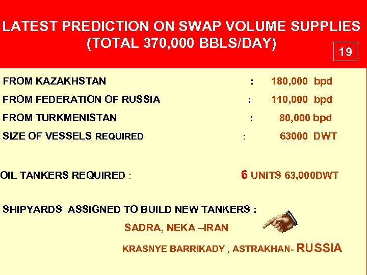 LATEST PREDICTION ON SWAP VOLUME SUPPLIES (TOTAL 370, 000 BBLS/DAY) 19 FROM KAZAKHSTAN :