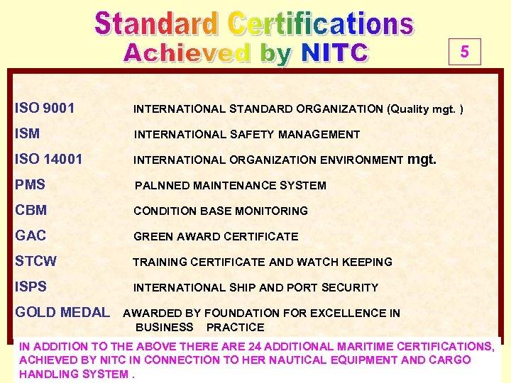 5 ISO 9001 INTERNATIONAL STANDARD ORGANIZATION (Quality mgt. ) ISM INTERNATIONAL SAFETY MANAGEMENT ISO