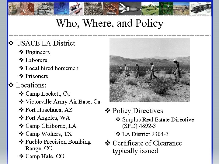Who, Where, and Policy v USACE LA District v Engineers v Laborers v Local