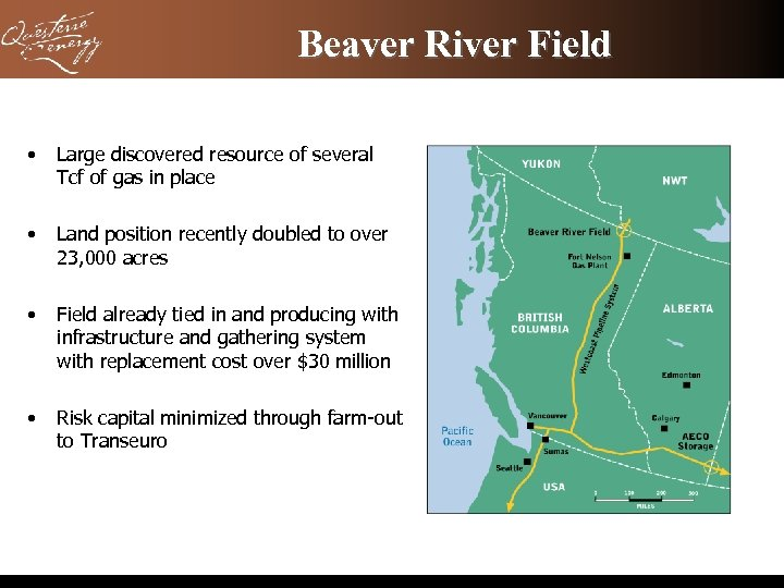 Beaver River Field • Large discovered resource of several Tcf of gas in place