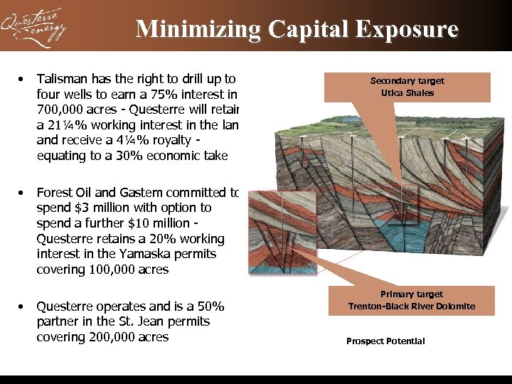 Minimizing Capital Exposure • Talisman has the right to drill up to four wells