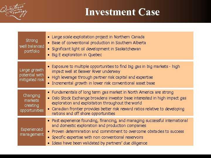 Investment Case • Large scale exploitation project in Northern Canada Strong • Base of
