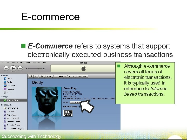 E-commerce n E-Commerce refers to systems that support electronically executed business transactions n Although