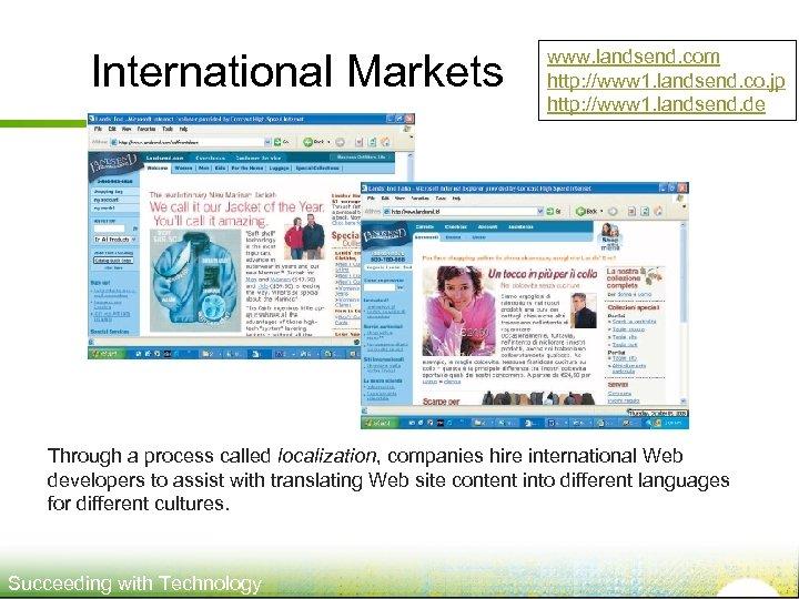 International Markets www. landsend. com http: //www 1. landsend. co. jp http: //www 1.