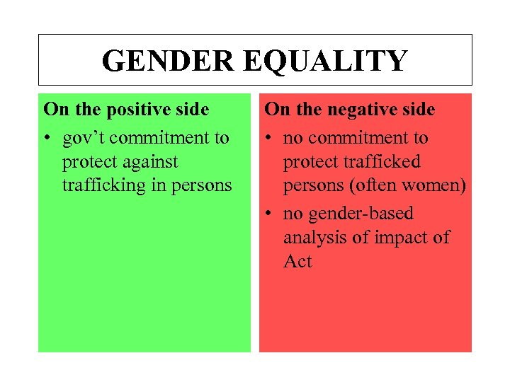 GENDER EQUALITY On the positive side • gov't commitment to protect against trafficking in