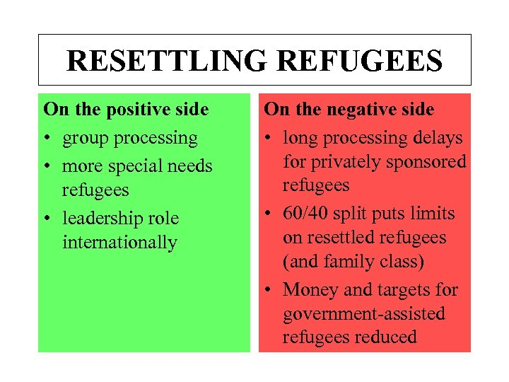 RESETTLING REFUGEES On the positive side • group processing • more special needs refugees