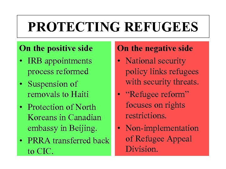 PROTECTING REFUGEES On the positive side • IRB appointments process reformed • Suspension of