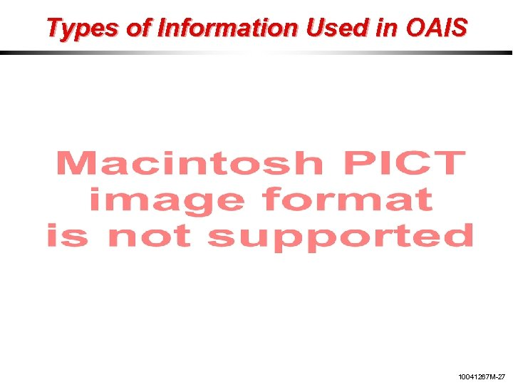 Types of Information Used in OAIS 10041267 M-27