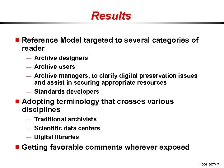Results Reference Model targeted to several categories of reader — Archive designers — Archive