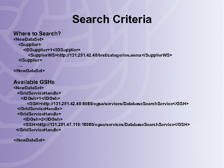 Search Criteria Where to Search? <New. Data. Set> <Supplier> <IDSupplier>1</IDSupplier> <Supplier. WS>http: //131. 251.