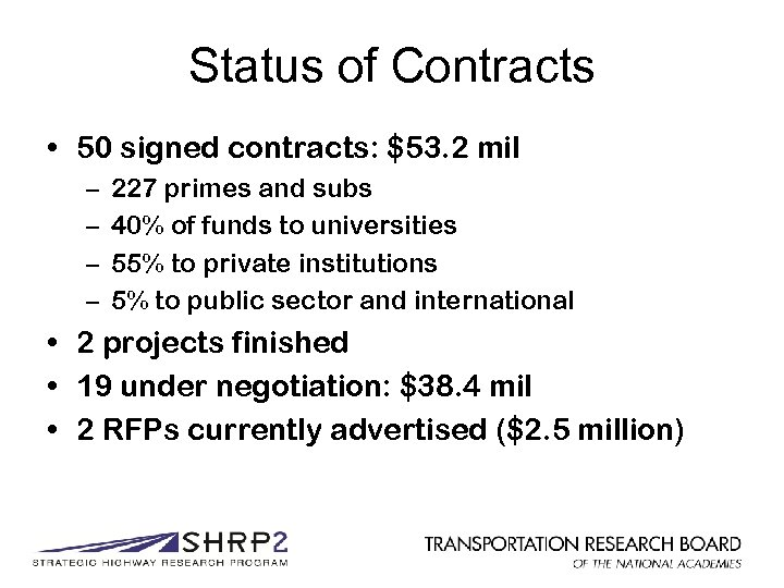 Status of Contracts • 50 signed contracts: $53. 2 mil – – 227 primes