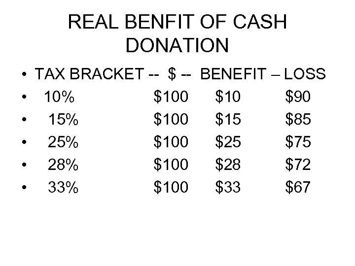 REAL BENFIT OF CASH DONATION • • • TAX BRACKET -- $ -- BENEFIT