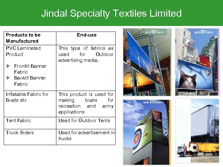 Jindal Specialty Textiles Limited Products to be Manufactured PVC Laminated Product End-use This type