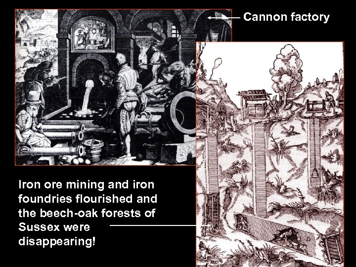 Cannon factory Iron ore mining and iron foundries flourished and the beech-oak forests of