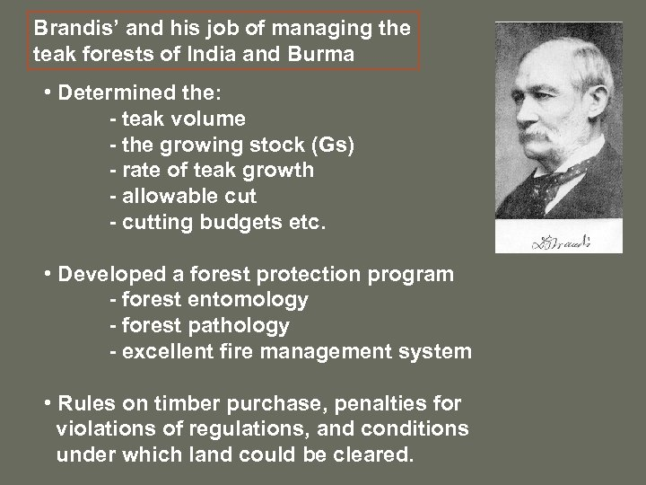 Brandis' and his job of managing the teak forests of India and Burma •