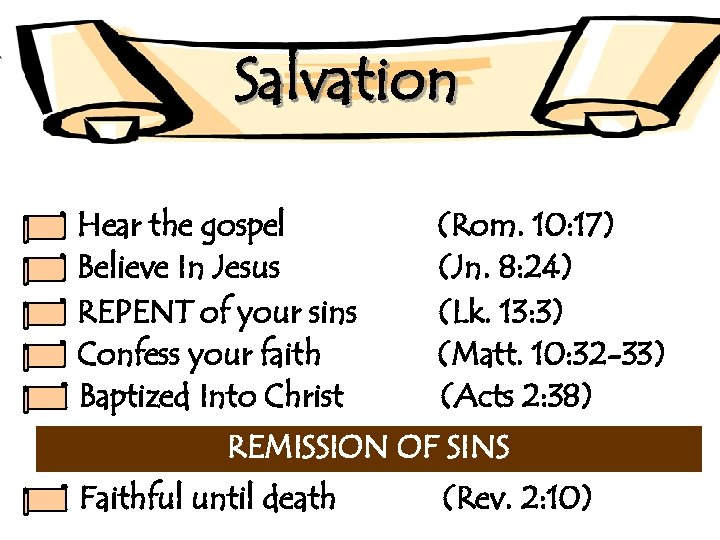 Salvation Hear the gospel Believe In Jesus REPENT of your sins Confess your faith