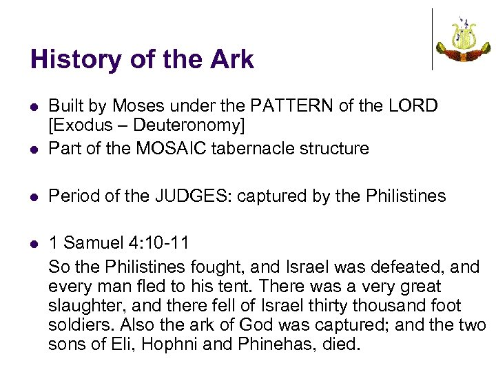 History of the Ark l Built by Moses under the PATTERN of the LORD