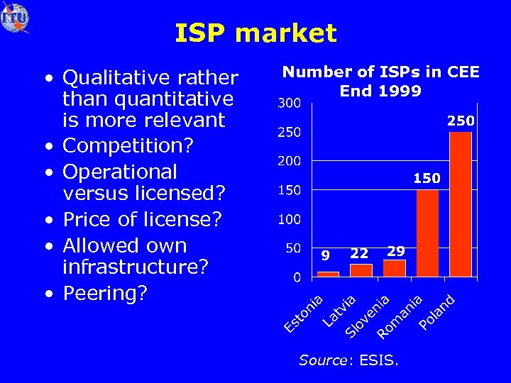 ISP market • Qualitative rather than quantitative is more relevant • Competition? • Operational