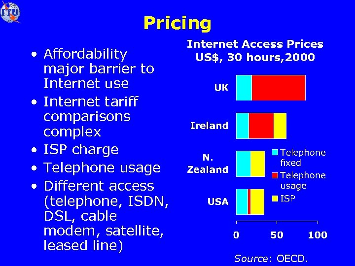 Pricing • Affordability major barrier to Internet use • Internet tariff comparisons complex •
