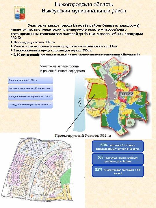 Нижегородская область Выксунский муниципальный район Участок на западе города Выкса (в районе бывшего аэродрома)