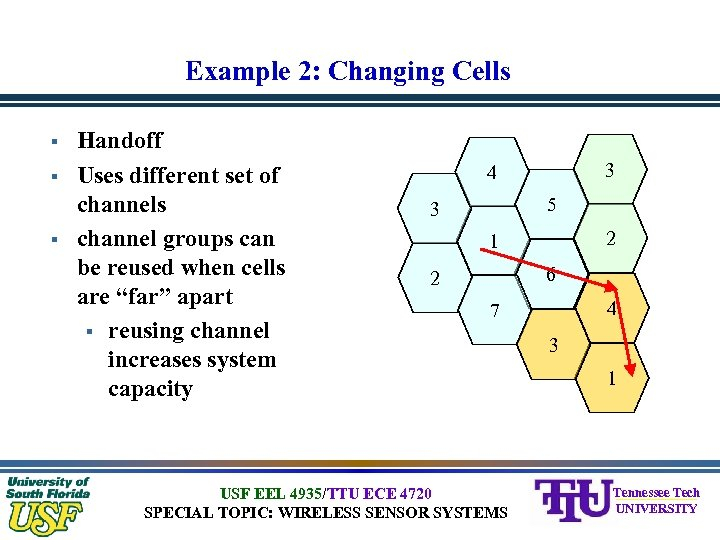 Example 2: Changing Cells § § § Handoff Uses different set of channels channel