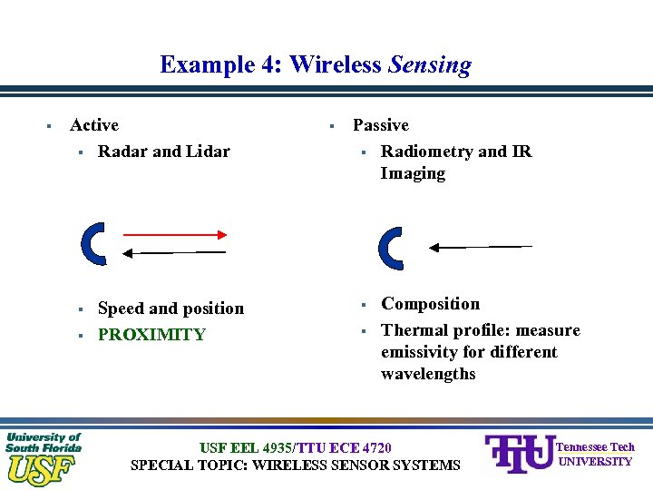 Example 4: Wireless Sensing § Active § Radar and Lidar § § Speed and