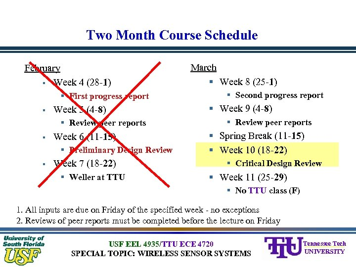 Two Month Course Schedule February § Week 4 (28 -1) § First progress report