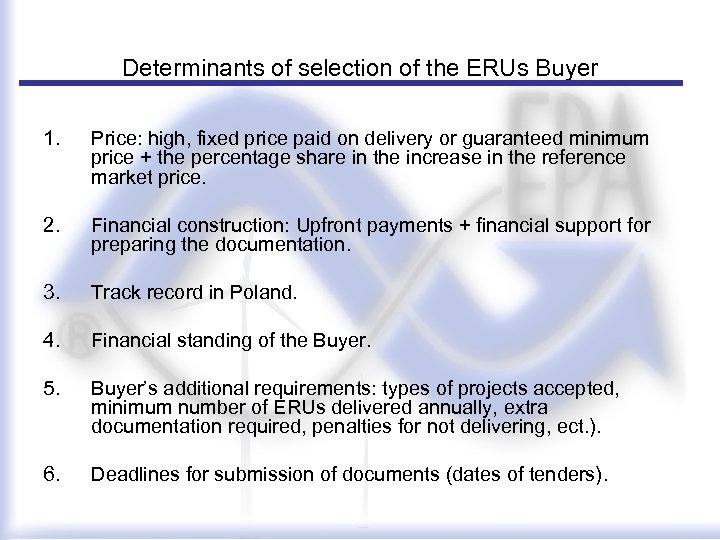Determinants of selection of the ERUs Buyer 1. Price: high, fixed price paid on
